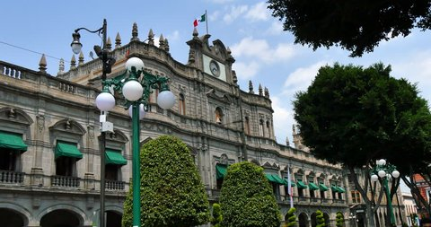 MEXICO - PUEBLA - CIRCA APRIL 2015 - The Palacio Muncipal de Puebla. The town was founded by the Spanish in 1531 to service the trade route between Mexico City and the port of Veracruz.