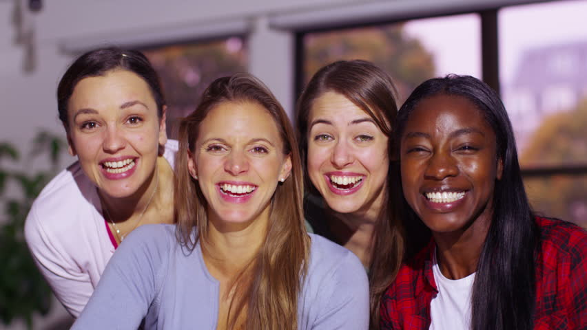 4K Happy attractive young women having a video chat, as seen from the point of view of the computer screen. | Shutterstock HD Video #9656879