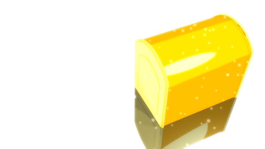 One 3D rendered yellow mailbox is opened with stream of gifts releasing in white background.