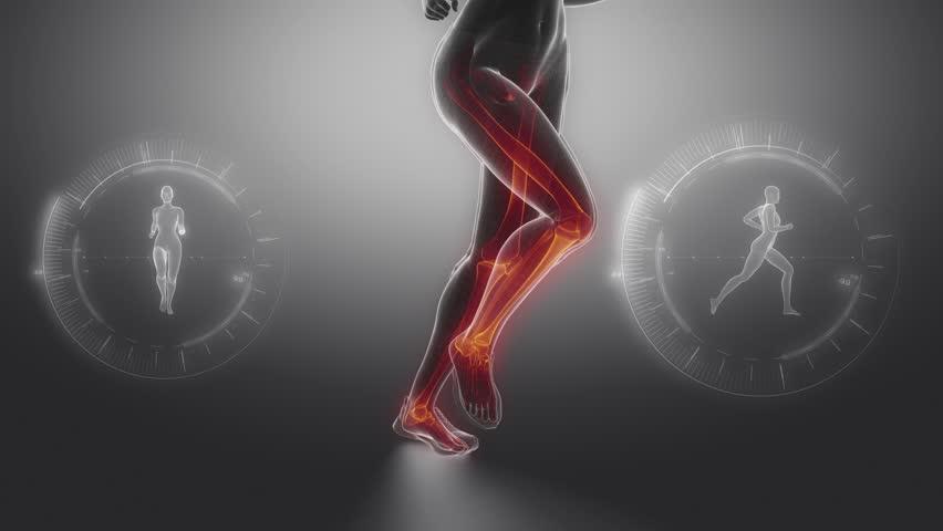 Running woman focused on leg bones