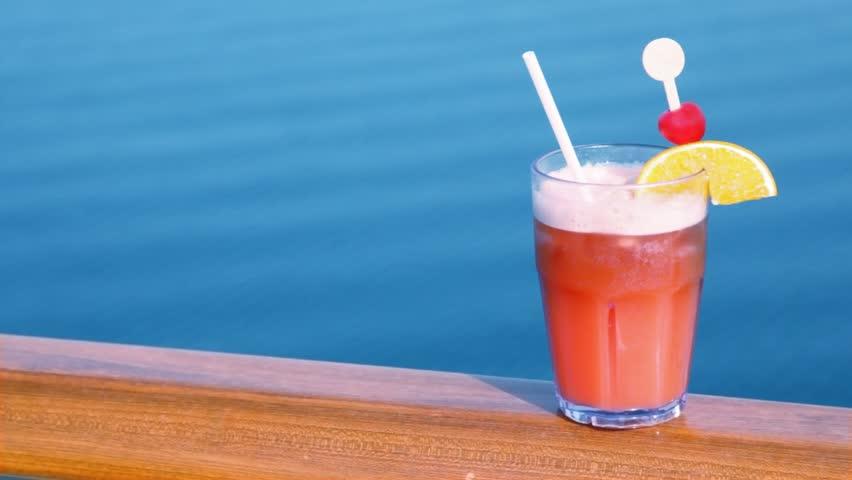 Drinks Cocktails On Tropical Beach Alcoholic Drink Close Up On Waikiki Beach Oahu Hawaii