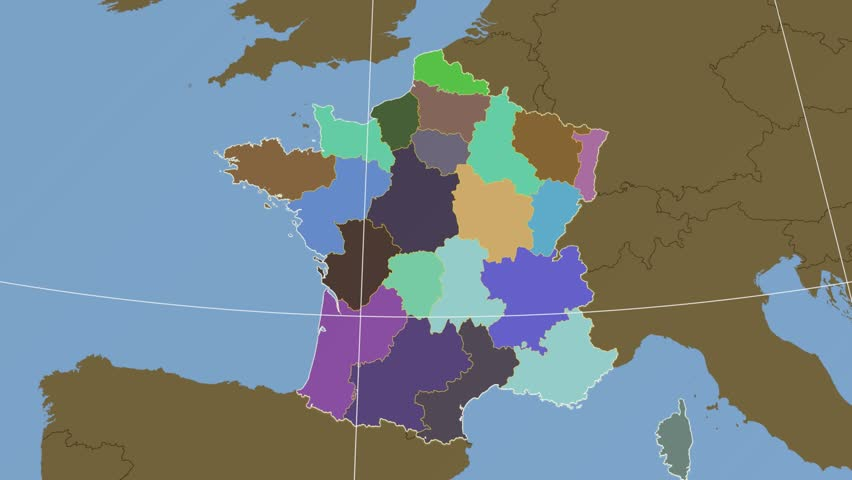 Map Of France Calais.Nord Pas De Calais Region Extruded On The Stock Footage Video 100