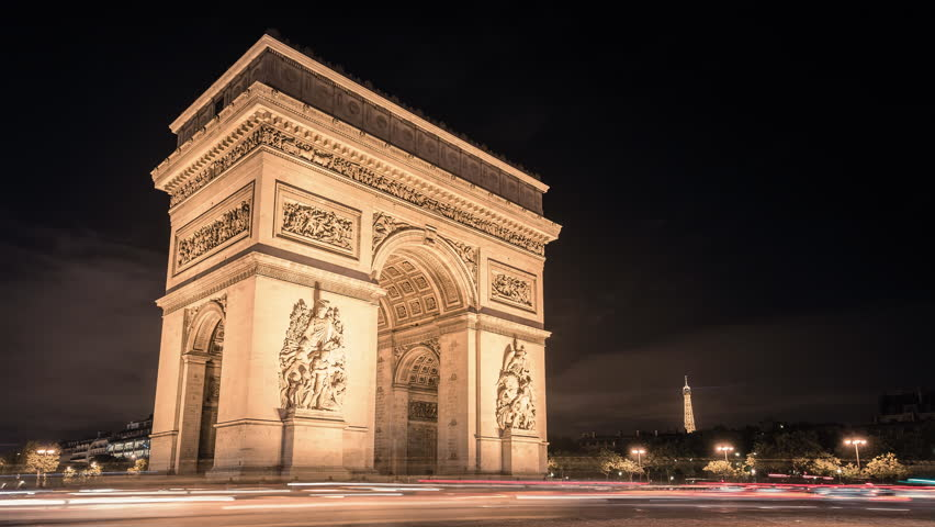 Paris Arc de Triumph night traffic Timelapse with cars passing | Shutterstock HD Video #9739082
