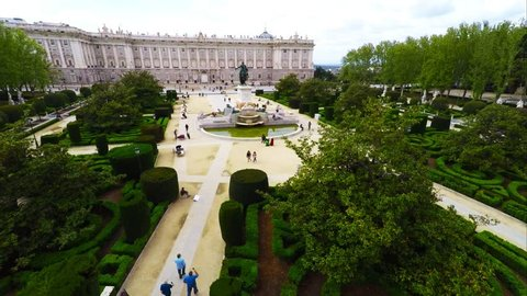 MADRID - 15 APR: Aerial video of the Palacio Real de Madrid, a major tourist landmark in central Madrid on 15th April 2015 in Madrid, Spain