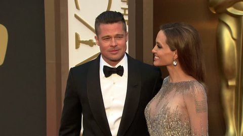 Hollywood, CA - March 02,2014: Brad Pitt and Angelina Jolie at Academy Awards 2014, Dolby Theatre