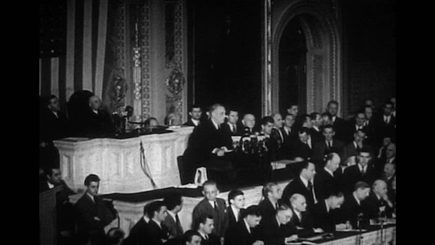 """WASHINGTON DC December 8 1941 - Franklin Delano Roosevelt delivers """"Day that will live in infamy speech"""" in regards to the Pearl Harbor attack."""