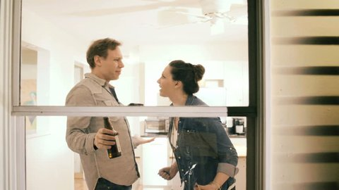 Couple man and woman fighting at home, relationship or marriage trouble