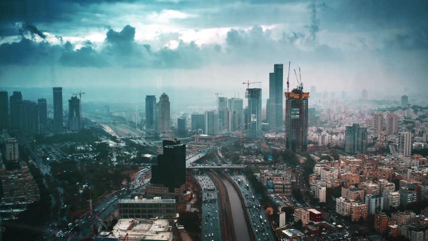 Tel-Aviv on a stormy day  | Shutterstock HD Video #9816440