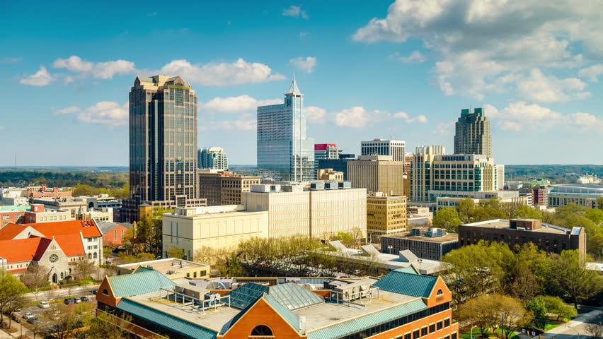Raleigh, North Carolina, USA skyline time lapse.