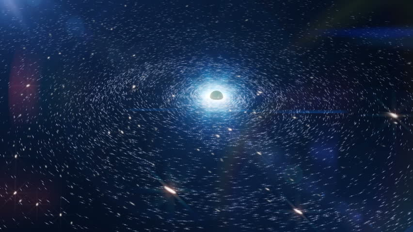 Black hole, view on galaxy with central body that attracts the surrounding objects
