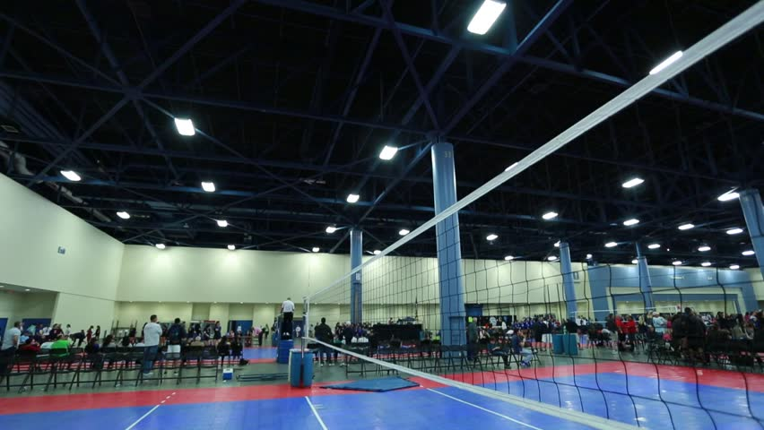 Tilt Up Of Volleyball Net At An Indoor Court With Unrecognizable ...