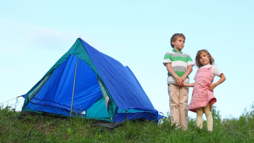 Boy And Little Girl Join Hands Near Tent Stock Footage Video 989950 | Shutterstock  sc 1 st  Shutterstock & Boy And Little Girl Join Hands Near Tent Stock Footage Video ...