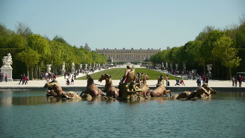 Fountain of Apollo and Versailles palace. France