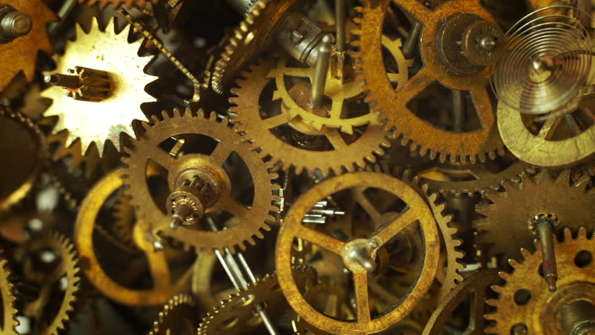Abstract Gold Clockwork. 3d Animation Stock Footage Video ...