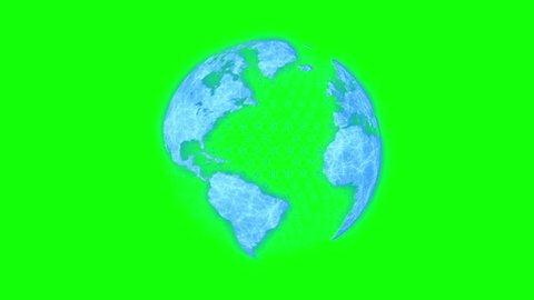 Futuristic Earth Hologram - Green Screen