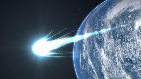 Comet close flyby Earth, close up, asteroid, beautiful, bright, burn, coma, fireball, meteor, sungrazer.