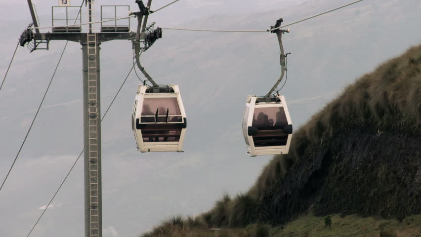 Quito Touristic Cable Car On Pichincha Volcano Passing By