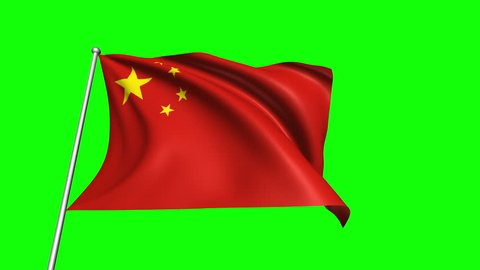 China flag with fabric structure (4K, loop, green background)